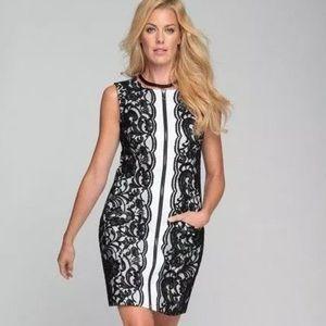Samuel Dong Coral & Black Lace Dress